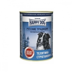 Happy Dog veal 400 гр х 20 шт / Хэппи Дог для собак с телятиной русские традиции 400 гр х 20 шт